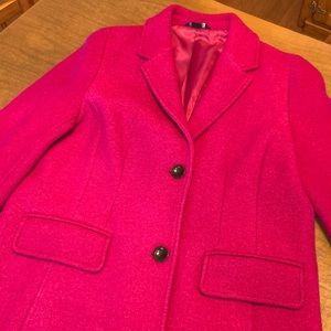 LANDS' END Wool Blend Pink Lined Pea Coat Size 12